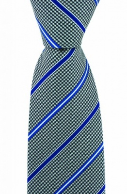 Luxury Navy Blue Dogtooth Silk Tie with Blue Stripes by Soprano